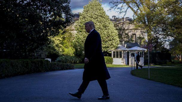 PHOTO: President Donald Trump returns to the White House following a trip to Minnesota on April 15, 2019 in Washington, D.C. (Zach Gibson/Getty Images)
