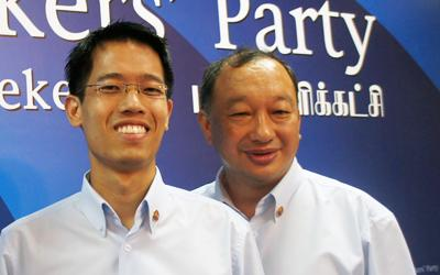 Workers' Party treasurer Eric Tan (right) has quit the Workers' Party because the NCMP seat was given to rookie Gerald Giam (left). (Yahoo! Singapore/Alicia Wong)