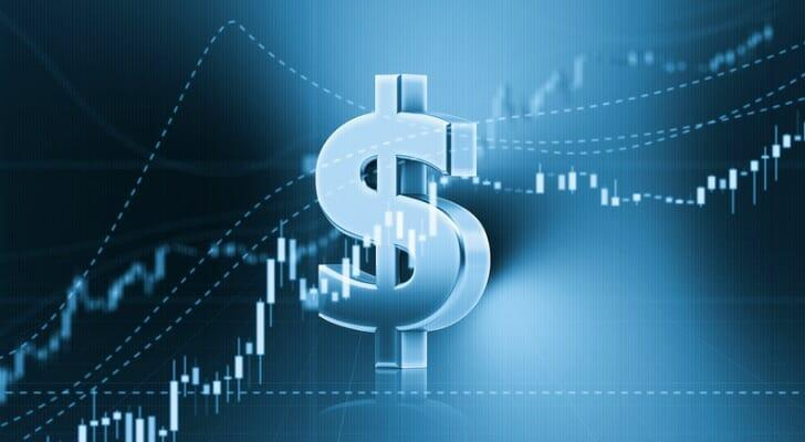 Dollar sign in front of a candlestick chart