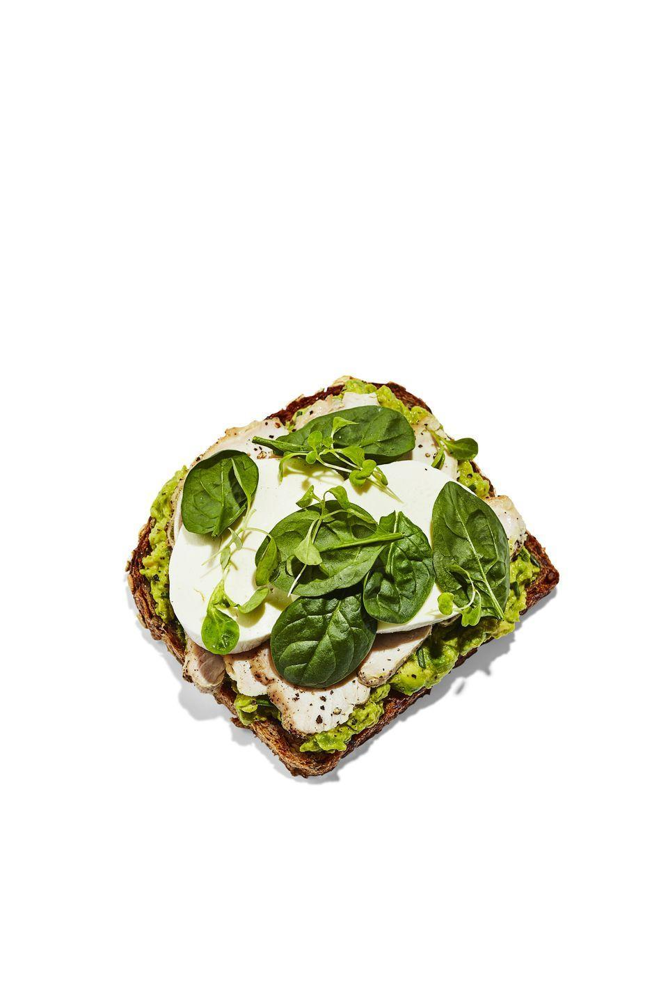 <p><strong>BREAD:</strong> 4 slices sprouted grain</p><p><strong>SPREAD:</strong> 1 mashed avocado + 1 minced garlic clove + 1 Tbsp chopped chives + 1 Tbsp fresh lemon juice</p><p><strong>TOPPING: </strong>2 fat slices fresh mozzarella + 1 cup baby spinach + ½ cup microgreens</p>