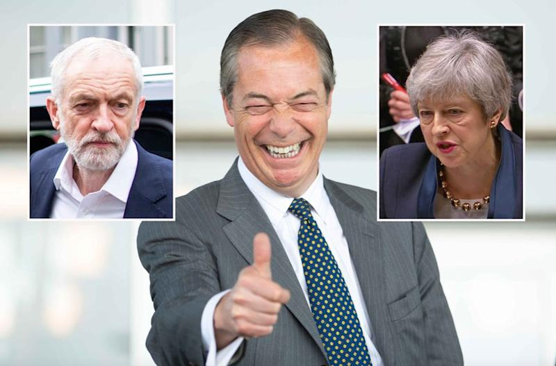 Jeremy Corbyn and Theresa May are now both more unpopular that Nigel Farage (Getty)
