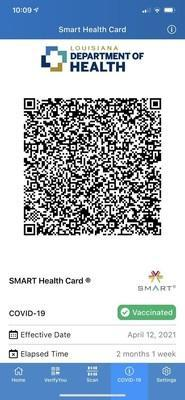 SMART Health Card rendered in LA Wallet with option to download into CommonPass