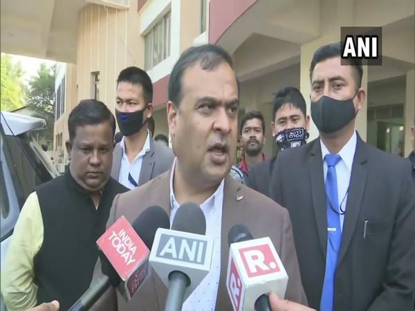 Assam Minister Himanta Biswa Sarma speaking to media on Monday. (Photo/ANI)