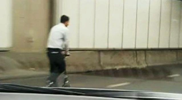 Footage showed the reckless scooter rider inside the Cross City Tunnel on Tuesday. Photo: 7 News