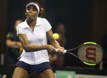 Feb 10, 2018; Asheville, NC, USA; Venus Williams (USA) in action during her match against Arantxa Rus (NED, not pictured) during the Fed Cup tie at U.S. Cellular Center. Susan Mullane-USA TODAY Sports