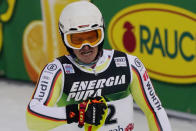Germany's Linus Strasser reacts after completing an alpine ski, men's World Cup slalom in Zagreb, Croatia, Wednesday, Jan. 6, 2021. (AP Photo/Giovanni Auletta)