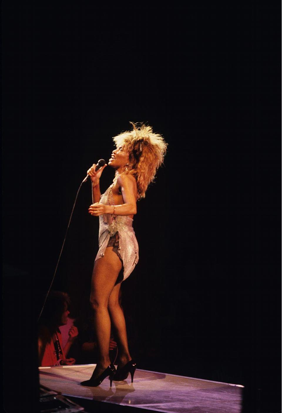 <p>There's nothing that screams the '80s like patent leather, and Tina Turner knew what was up when she wore these pumps while performing at Madison Square Garden. </p>