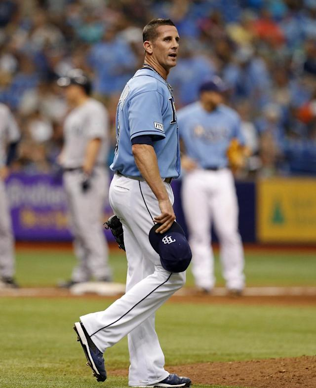 Tampa Bay Rays relief pitcher Grant Balfour reacts after giving up a double to Seattle Mariners' Kyle Seager during the ninth inning of a baseball game Sunday, June 8, 2014, in St. Petersburg, Fla. The Mariners won 5-0. (AP Photo/Mike Carlson)