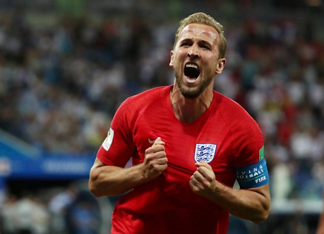 Soccer Football - World Cup - Group G - Tunisia vs England - Volgograd Arena, Volgograd, Russia - June 18, 2018 England's Harry Kane celebrates scoring their second goal REUTERS/Sergio Perez TPX IMAGES OF THE DAY