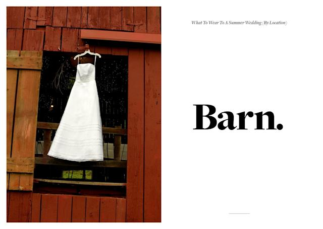 <p>If the wedding you are attending happens to be in a barn, might we suggest opting for a simple, understated look. In particular, pastel-color dresses complement the rustic feel of barn venues. Of course, you can still choose a dress that has subtle stylistic details, like a few ruffles or a muted floral print. (Photo: Getty Images) </p>