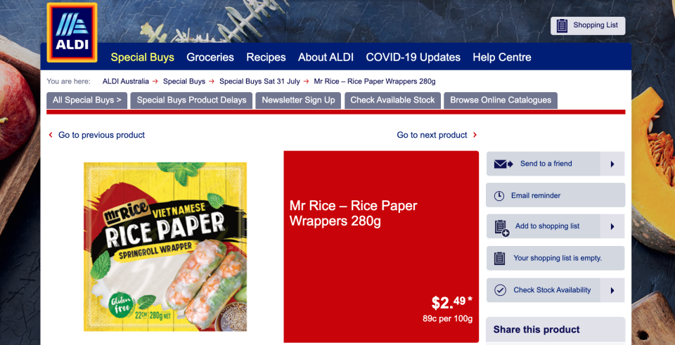Mum's are loving that Aldi Vietnamese rice paper wrappers provide a quick and easy meal. Photo: