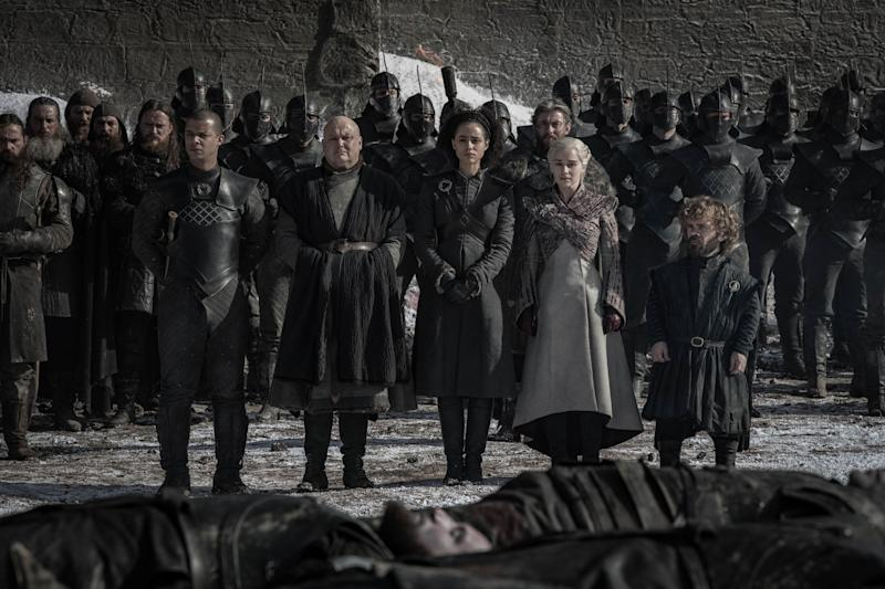The survivors of the Long Night survey the damage done by the White Walker army (Photo: Helen Sloan/HBO)