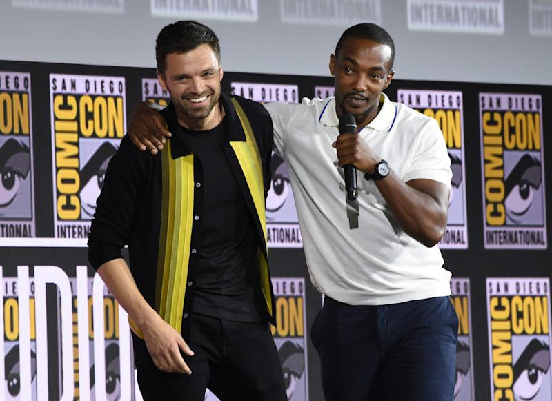 Sebastian Stan (left) and Anthony Mackie took the Marvel stage at Comic-Con for their upcoming Disney+ series