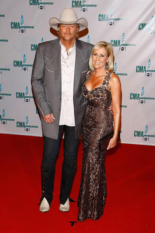 """Alan Jackson's wife Denise also chose to wear copper, but her dress was definitely more over the top! Jemal Countess/<a href=""""http://www.wireimage.com"""" target=""""new"""">WireImage.com</a> - November 12, 2008"""
