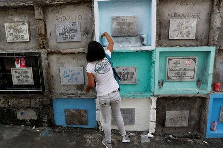 Kathrina Polo visits the tomb of her late husband Cherwen Polo, who was shot and killed by policemen inside their house, at a cemetery in Novaliches, Quezon City, Metro Manila, Philippines November 21, 2017. REUTERS/Erik De Castro