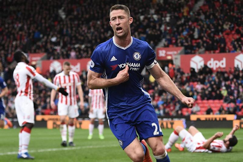 Winner: Gary Cahill scored late on to secure a 2-1 win over Stoke (AFP/Getty Images)