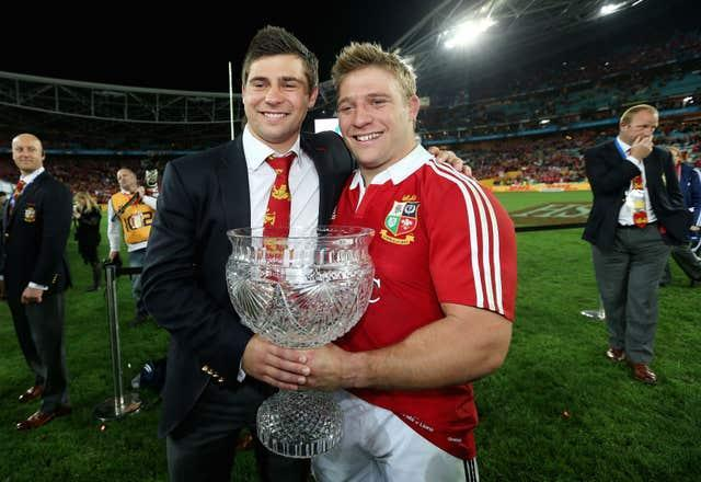 Ben and older brother Tom Youngs celebrate the Lions series win in Sydney in 2013