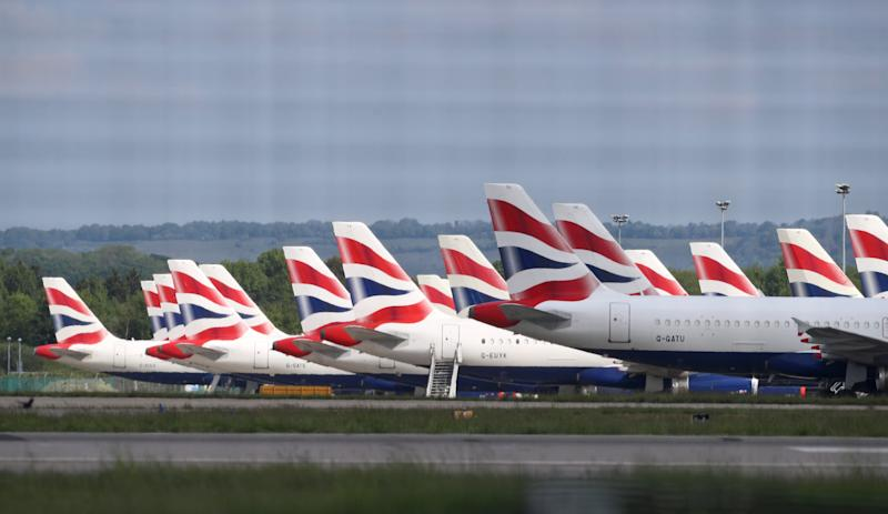 British Airways planes parked at Gatwick Airport in Sussex. (Gareth Fuller/PA Wire/PA Images)