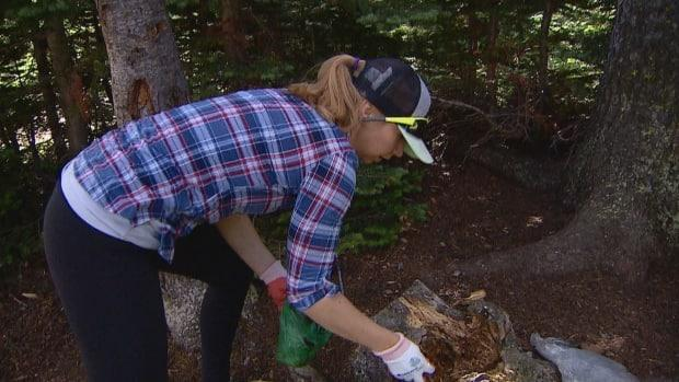 Trash on the trails inspired volunteer clean-up events in Alberta parks last year. Sarah Kuindersma is pictured picking up a poop bag on the trail in August 2020.