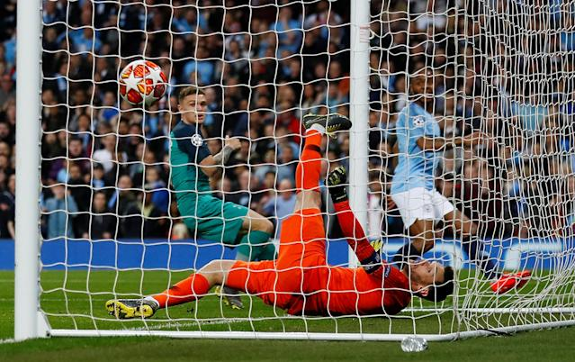Sterling puts the ball into the back of the net to put City 3-2 up