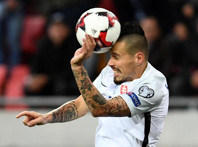 Soccer Football - 2018 World Cup Qualifications – Europe – Slovakia vs Malta - Stadion Antona Malatinskeho, Trnava, Slovakia - October 8, 2017 Slovakia's Marek Hamsik in action REUTERS/Radovan Stoklasa