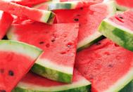 """<p><a href=""""https://www.goodhousekeeping.com/food-recipes/a27198230/how-to-cut-a-watermelon/"""" rel=""""nofollow noopener"""" target=""""_blank"""" data-ylk=""""slk:Watermelon"""" class=""""link rapid-noclick-resp"""">Watermelon</a> is 92% water, making it a great choice for <a href=""""https://www.goodhousekeeping.com/health/diet-nutrition/a46956/how-much-water-should-i-drink/"""" rel=""""nofollow noopener"""" target=""""_blank"""" data-ylk=""""slk:hydration"""" class=""""link rapid-noclick-resp"""">hydration</a>. Your food provides about 20% of your fluid intake, and eating water-packed snacks like watermelon can help you avoid subtle, headache-spurring dehydration. Because fruit is high in water, potassium, and magnesium, it helps to offset excess <a href=""""https://www.goodhousekeeping.com/health/diet-nutrition/a46956/how-much-water-should-i-drink/"""" rel=""""nofollow noopener"""" target=""""_blank"""" data-ylk=""""slk:sodium"""" class=""""link rapid-noclick-resp"""">sodium</a> in your diet, too. Try it in a salad with feta and mint—or grill it for a summery dessert!</p>"""