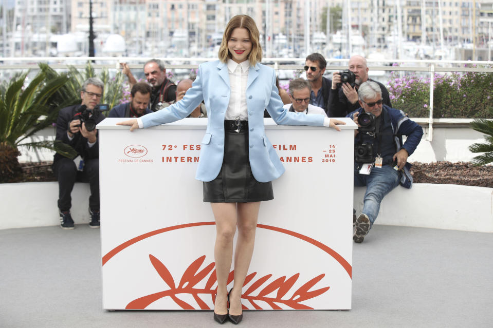 FILE - In this May 23, 2019 file photo actress Lea Seydoux poses for photographers at the photo call for the film 'Oh Mercy' at the 72nd Cannes film festival. Seydoux, one of France's most famous actors, is at risk of missing the Cannes Film Festival after testing positive for COVID. (AP Photo/Petros Giannakouris, File)