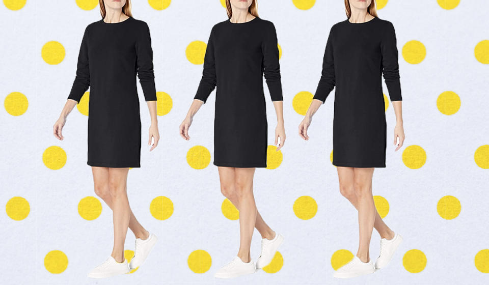 Your new comfy sweatshirt dress awaits—and it's nearly half off.  (Photo: Amazon)