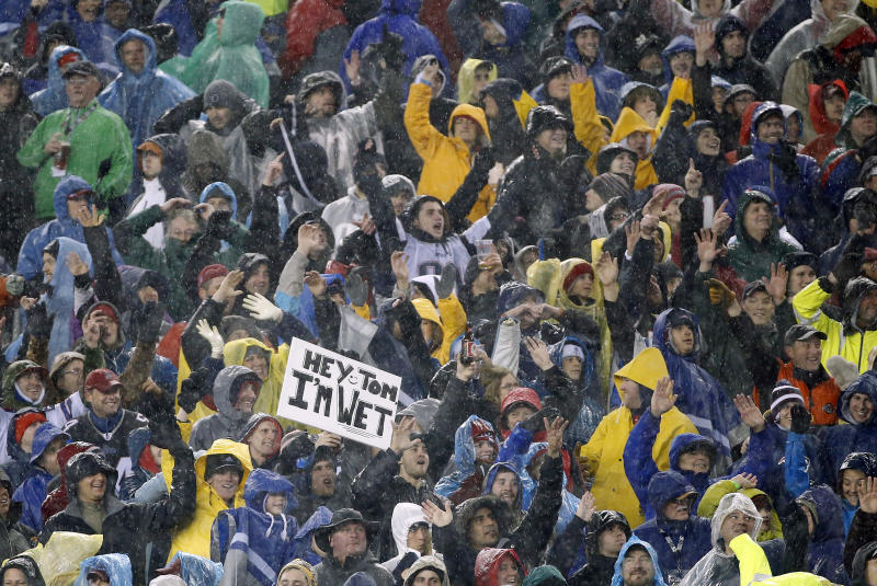 Fans cheer during a heavy rain in the second quarter of an NFL football game between the New England Patriots and the Buffalo Bills, Sunday, Dec. 29, 2013, in Foxborough, Mass. (AP Photo/Elise Amendola)