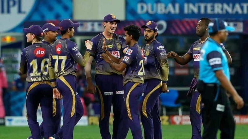 KKR players celebrate the fall of a wicket. (Image Credits: Hindustan Times)