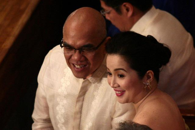 TV personality Boy Abunda and Presidential Sister Kris Aquino attends the 3rd State of the Nation Address of Philippine President Benigno Simeon Cojuangco Aquino III at the House of Representatives in Quezon City, northeast of Manila, on 23 July 2012. (Voltaire Domingo/NPPA Images)