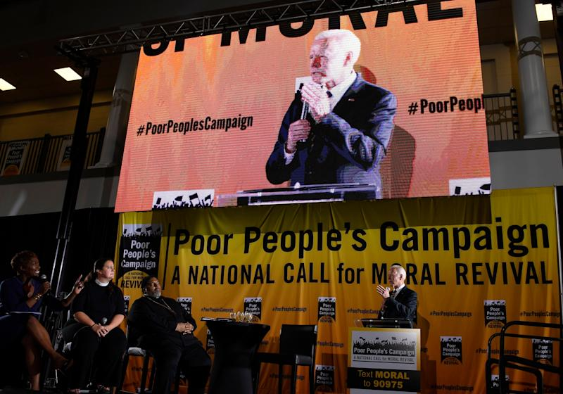 Joe Biden at the Poor People's Moral Action Congress on Monday. (Photo: Susan Walsh / ASSOCIATED PRESS)