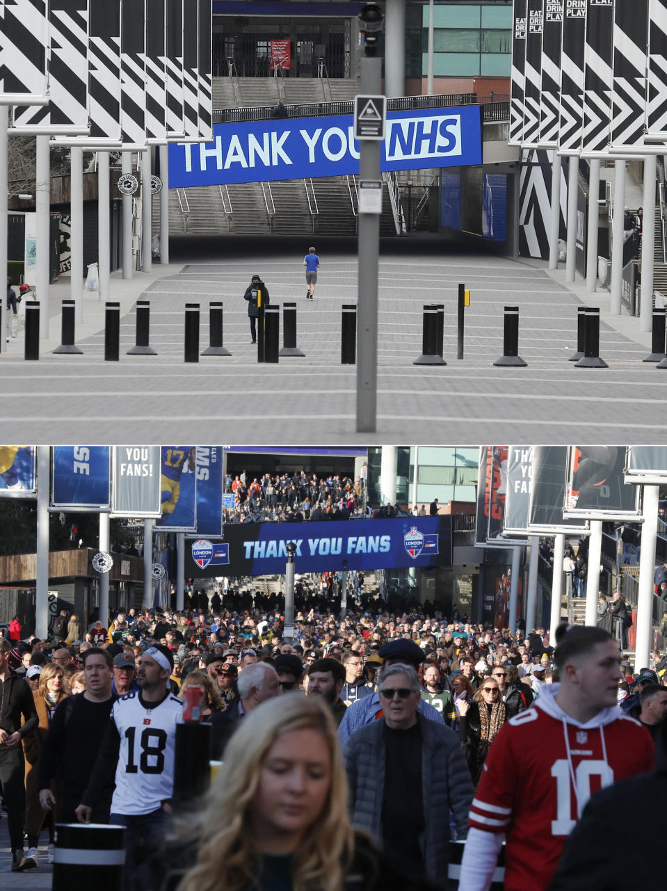A combo of photos shows fans approaching Wembley Stadium before an NFL football game between the Los Angeles Rams and the Cincinnati Bengals on Sunday, Oct. 27, 2019, in London and an image showing an empty Wembley Way taken on Wednesday, April 1, 2020. (AP Photo/Frank Augstein)