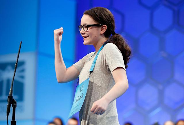 <p>Mandy Granz, 12, from Imlay City, Mich. reacts after correctly spelling her word in the third round of the 90th Scripps National Spelling Bee, Wednesday, May 31, 2017, in Oxon Hill, Md. (AP Photo/Alex Brandon) </p>