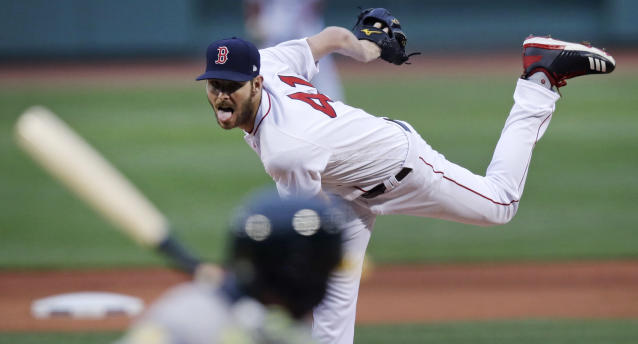 Boston Red Sox starting pitcher Chris Sale delivers during the first inning of the team's baseball game against the Oakland Athletics at Fenway Park in Boston, Wednesday, May 16, 2018. (AP Photo/Charles Krupa)