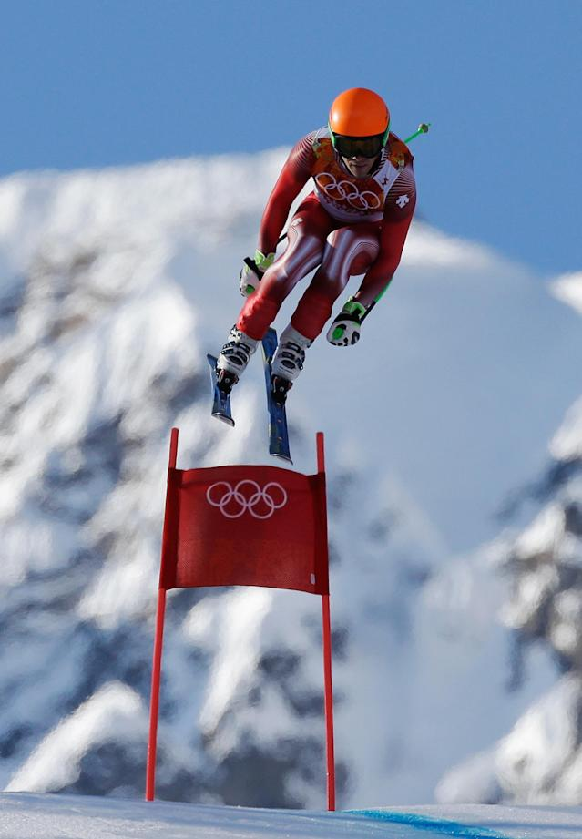 SOCHI, RUSSIA - FEBRUARY 14: Sandro Viletta of Switzerland competes during the Alpine Skiing Men's Super Combined Downhill on day 7 of the Sochi 2014 Winter Olympics at Rosa Khutor Alpine Center on February 14, 2014 in Sochi, Russia. (Photo by Ezra Shaw/Getty Images)