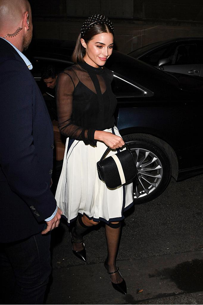 livia Culpo, ferdi restaurant, sheer socks, sheer blouse, white skirt, celebrity style, mary-janes Celebrities out and about, Paris Fashion Week, France - 27 Feb 2019