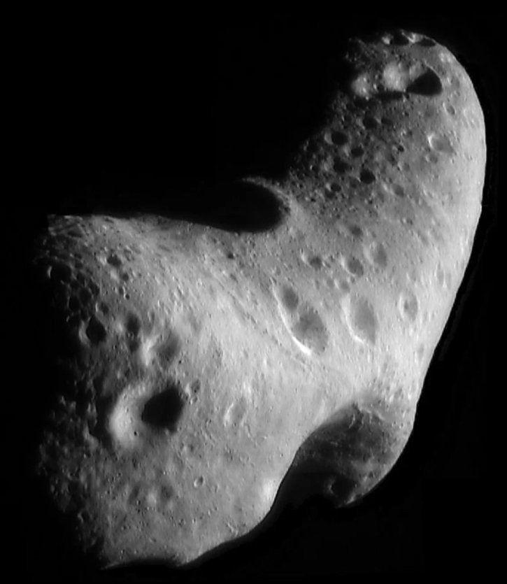 Close-up image of Eros photographed by NASA's Near Earth Asteroid Rendezvous spacecraft in 2000.