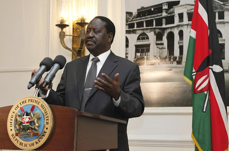 """Kenyan Prime Minister, Raila Odinga, gestures as he addresses the foreign journalists in Nairobi, Kenya, Tuesday, June 12, 2012.   Odinga said that Kenyan forces are preparing for a """"final onslaught"""" on the Somali port town of Kismayo, which is controlled by al-Shabab militants, and Odinga said that they are seeking U.S. and European assistance to aid in the planned operation. (AP Photo/Sayyid Azim)"""
