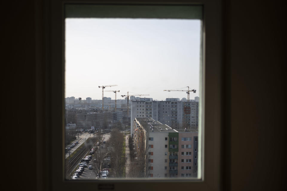 A view out of a window of a apartment building in the resident neighborhood Hellersdorf on the eastern outskirts of Berlin, Germany, Wednesday, Feb. 24, 2021. Psychiatrists, psychologists and pediatricians in Germany have raised alarm that school closings and other precautions are magnifying the fears and psychological effects of the coronavirus pandemic itself among Germany's 13.67 million children and teenagers, raising the prospect of a mental health crisis in the future. (AP Photo/Markus Schreiber)