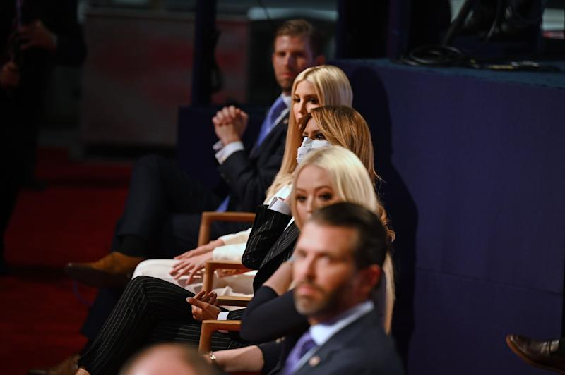 (From top) Eric Trump, son of the US President, daughter and Senior Advisor to the US President Ivanka Trump, US First Lady Melania Trump, daughter of the US President Tiffany Trump and Donald Trump Jr., son of the US President, are seen ahead of the first presidential debate at the Case Western Reserve University and Cleveland Clinic in Cleveland, Ohio on September 29, 2020. (Jim Watson/AFP via Getty Images)