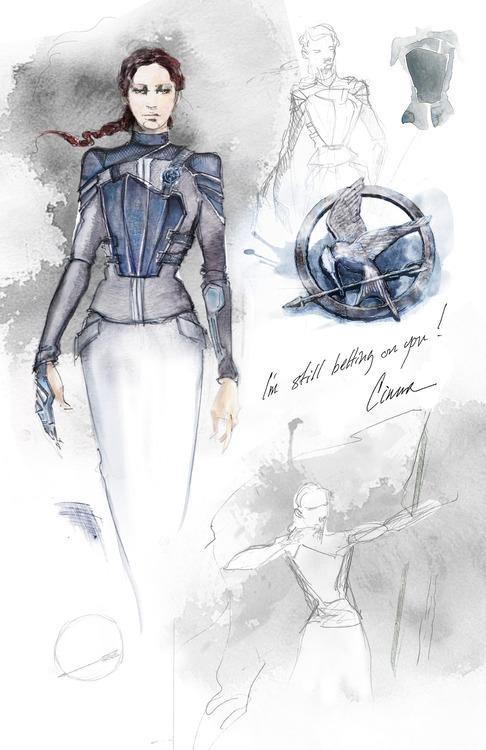Katniss battle costume sketch by Cinna in Mockingjay Part 1