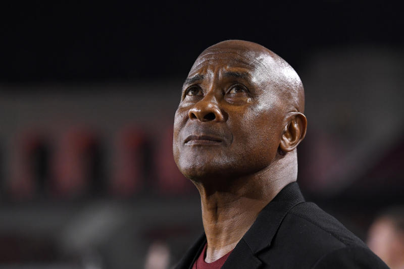 University of Southern California athletic director Lynn Swann watches during the first half of an NCAA college football game against Fresno State Saturday, Aug. 31, 2019, in Los Angeles. (AP Photo/Mark J. Terrill)