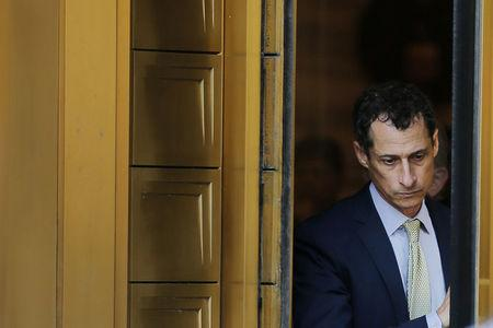 Former U.S. Congressman Anthony Weiner departs U.S. Federal Court, following his sentencing after pleading guilty to one count of sending obscene messages to a minor, in New York