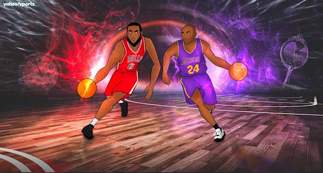 After an initial stumble, in our sports multiverse, we get an epic LeBron vs. Kobe NBA Finals trilogy. (Yahoo Sports illustration by Mo Haidar and Amber Matsumoto)