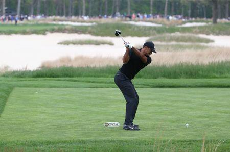 May 17, 2019; Bethpage, NY, USA; Tiger Woods plays his shot from the seventh tee during the second round of the PGA Championship golf tournament at Bethpage State Park - Black Course. Mandatory Credit: Peter Casey-USA TODAY Sports