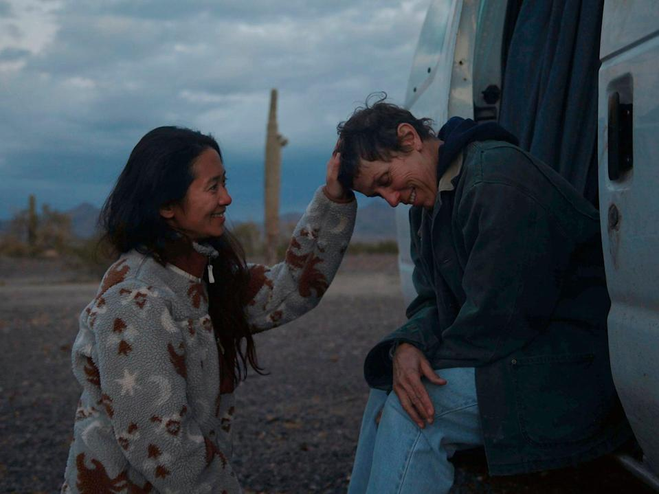 Chloé Zhao and star Frances McDormand on the set of 'Nomadland'AP