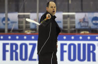 FILE - Bemidji State head coach Tom Serratore leads his players during NCAA Frozen Four college hockey practice at the Verizon Center in Washington, in this Wednesday, April 8, 2009, file photo. The NCAA men's hockey tournament bracket this year would have made Herb Brooks proud. For the first time, all five Division I programs from Minnesota made the 16-team field. (AP Photo/Susan Walsh, File)