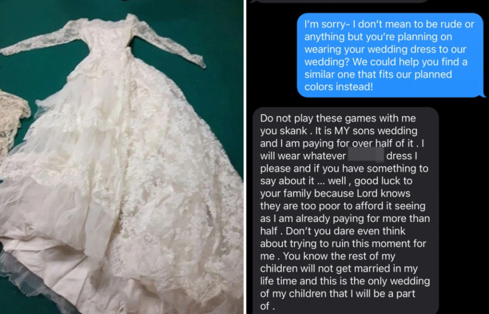 mother-in-law revealed she wanted to wear her own wedding dress