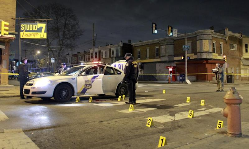 Police at the scene of a 2016 shooting in Philadelphia.